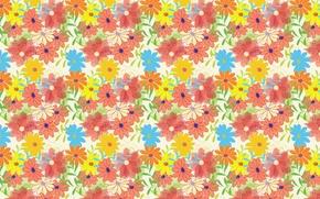Картинка цветы, фон, обои, рисунок, ромашки, текстуры, орнамент, листики
