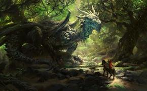 Картинка лес, рисунок, фэнтези, арт, всадник, fantasy, рыцарь, forest, wood, art, rider, knight, солнечный луч, sunbeam, …