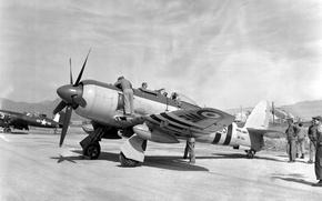 Картинка Фото, чёрно-белое, истребитель, американский, британский, Корсар, Corsair, палубный, поршневой, одномоторный, Hawker, Chance Vought, F4U, Sea …