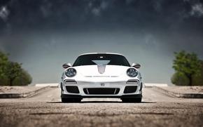 Картинка белый, небо, 911, 997, Porsche, white, порше, GT3, RS 4.0