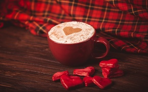 Картинка кофе, сердца, конфеты, чашка, сердечки, красные, красная, капучино, салфетка