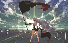 Картинка небо, девушка, облака, свет, закат, улыбка, аниме, флаг, маска, арт, sekai seifuku, hoshimiya kate, kumonji …