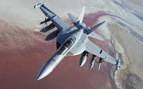 Картинка ландшафт, высота, самолёт, Боинг, пилоты, палубный, EA-18G Growler, ВМС США, радиоэлектронной борьбы