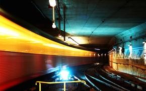 Обои огни, туннель, метро
