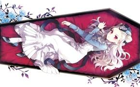 Картинка платье, белый фон, шляпка, гроб, красные глаза, голубые розы, visual novel, вампирша, лежит на боку, …