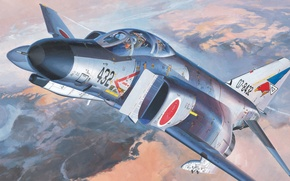 Картинка war, art, painting, aviation, F-4EJ Phantom II