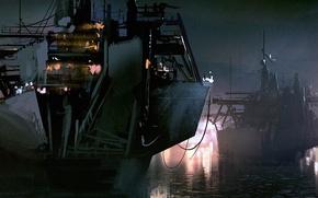 Картинка река, корабль, art