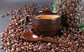Картинка пена, кофе, зерна, ложка, чашка, банка