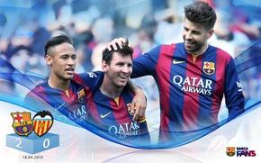 Картинка wallpaper, sport, football, Lionel Messi, FC Barcelona, Neymar, Gerard Pique, players