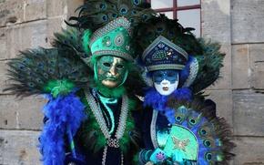 Обои веер, перья, Венеция, карнавал, маска, павлин, костюм