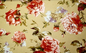Картинка листья, цветы, дизайн, узор, розы, текстура, стебель, бутон, лепесток, ткань, сирень, пионы, текстиль, веточки