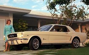 Обои купе, Mustang, Ford, мустанг, кремовый, мускул кар, форд, woman, Coupe, американская мечта, женьшина, '1964, класика, ...
