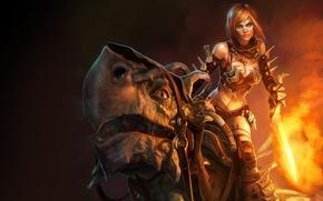 Картинка меч, девочка, дракончик, огненный, golden axe