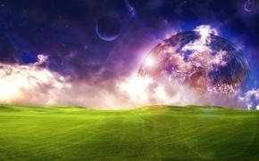 Картинка planet, grass, поле, космос, sky, облака, space, clouds, свет, трава, планета, луна, красиво, field, луг, ...