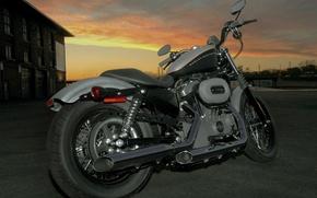 Обои Мотоцикл, Небо, закат