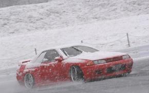 Обои снег, nissan, дрифт, R32, skyline