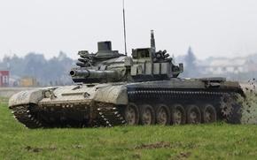 Картинка поле, танк, боевой, бронетехника, Т-72
