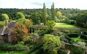 Картинка парк, вид сверху, Sissinghurst Castle Garden, сад, Англия, кусты, деревья, забор, дом, дизайн