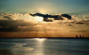 Картинка море, небо, солнце, облака, лучи, природа, Nature, sky, sea, clouds, sun rays