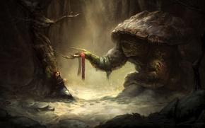 Картинка лес, девушка, дерево, черепаха, шарф, чаща, фэнтези, арт, гигантская, панцирь, раны, бинт