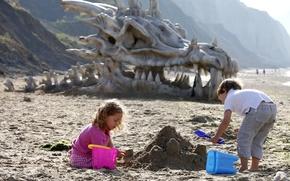Картинка песок, дети, Dragon Skull