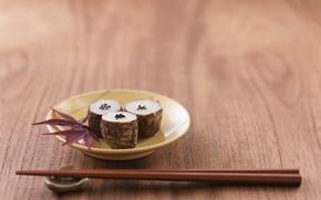 Обои палочки, суши, sushi, листья