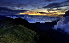 Картинка облака, пейзаж, закат, горы
