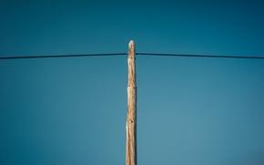 Картинка небо, столб, провод