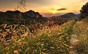 Картинка дорога, осень, лес, небо, трава, деревья, закат, горы, природа, парк, colors, colorful, forest, road, sky, …