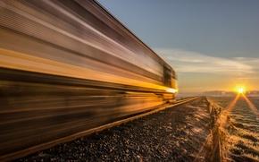 Картинка дорога, закат, локомотив