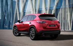 Картинка красный, фото, Мазда, сзади, Mazda, автомобиль, металлик, 2015, CX-5