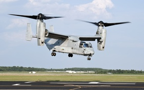 Картинка аэродром, взлет, конвертоплан, U.S. Marine Corps, MV-22 Osprey