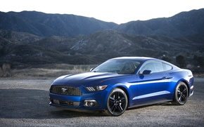 Картинка Mustang, Ford, Blue, 2015, EcoBoost
