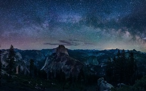 Картинка Сalifornia, Nature, Sky, Landscape, Yosemite, Night, Glacier, Way, Milky, Point, Galaxy‬
