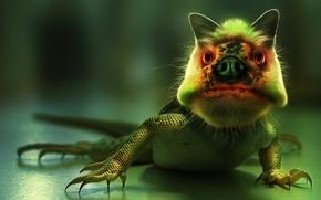 Картинка ящер, зеленый, монстр
