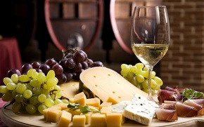 Обои сыр, белое, виноград, бокал, wine, вино, cheese