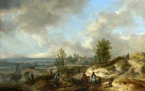 Картинка пейзаж, мост, река, люди, холмы, лодка, лошадь, картина, всадник