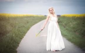 Картинка дорога, девушка, цветы