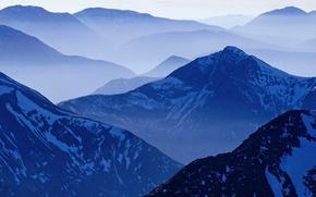 Обои туман, синий, Горы