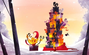 Картинка Новый Год, Рождество, лиса, подарки, Christmas, New Year, Xmas, Merry, Designed by, Elise Vanoorbeek, бешеная