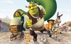 Шрэк Третий,Shrek the Third,Shrek,Donkey,Princess Fiona,Puss in Boots,Шрек,осел,Фиона,кот в сапогах,Pinocchio,печенька,Blind Mice,мультфильм,коляска,корона,бегут обои