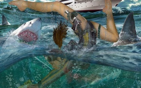 Обои акула, Катер, Вода, Дайвинг, Гарпун, LARA CROFT, TOMB RAIDER