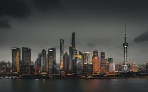 Картинка город, огни, здания, Китай, Шанхай