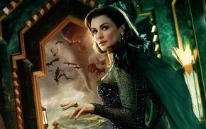 Картинка летающие, монстры, перья, постер, окно, наряд, Rachel Weisz, смерч, брюнетка, Oz the Great and Powerful, ...