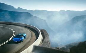 Картинка Roadster, Lamborghini, Aventador, Blue, LP 750-4, Superveloce, Landscape, Supercar