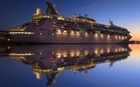 Картинка вода, огни, отражение, вечер, лайнер, круизный корабль