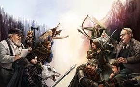 Картинка Aragorn, Gandalf, Tyrion Lannister, Frodo Baggins, Jon Snow, Gimli, art, гном, Legolas, Eddard Stark, George ...