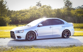 Картинка turbo, wheels, mitsubishi, jdm, tuning, lancer, evolution, evo x, volk