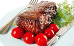 Картинка укроп, тарелка, нож, мясо, вилка, помидоры