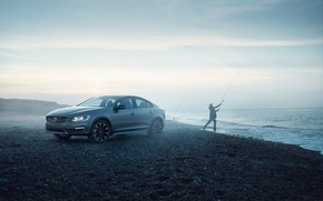 Картинка Туман, Volvo, Берег, Cross Country, S60, Рыбак